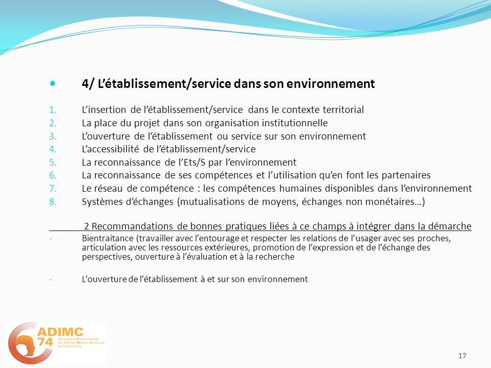 4/ L'établissement/service dans son environnement