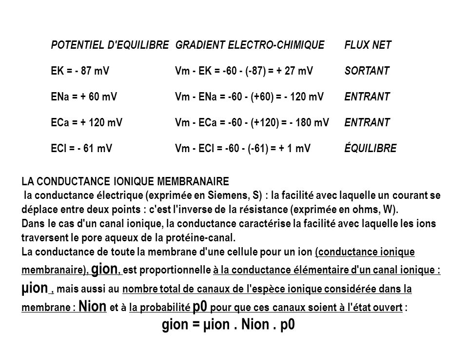 gion = μion . Nion . p0 POTENTIEL D EQUILIBRE