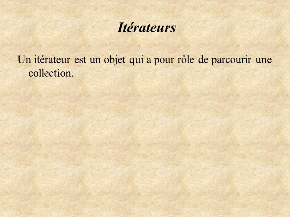 Itérateurs Un itérateur est un objet qui a pour rôle de parcourir une collection.