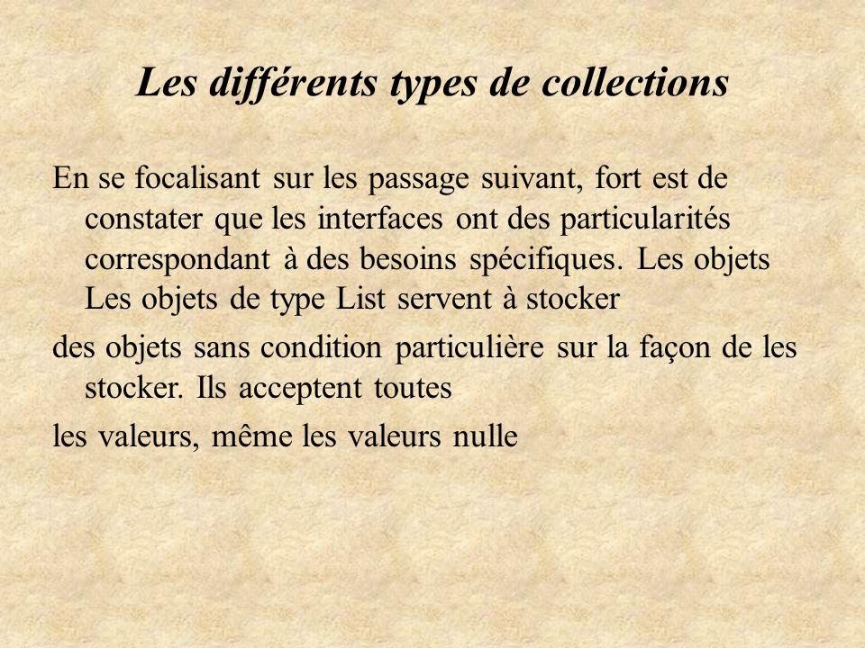 Les différents types de collections
