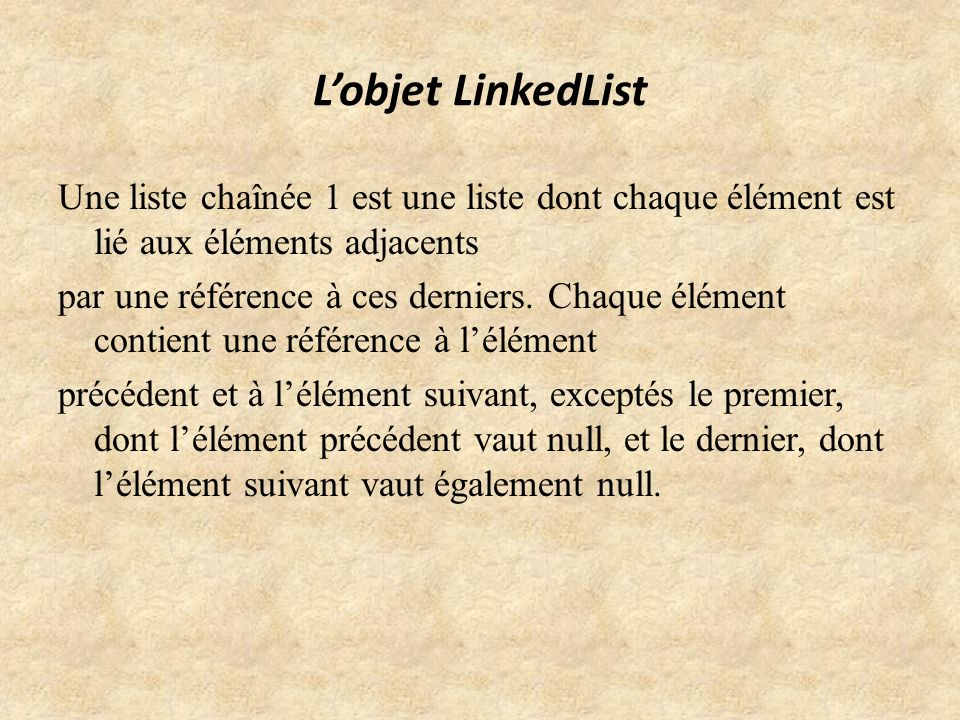 L'objet LinkedList