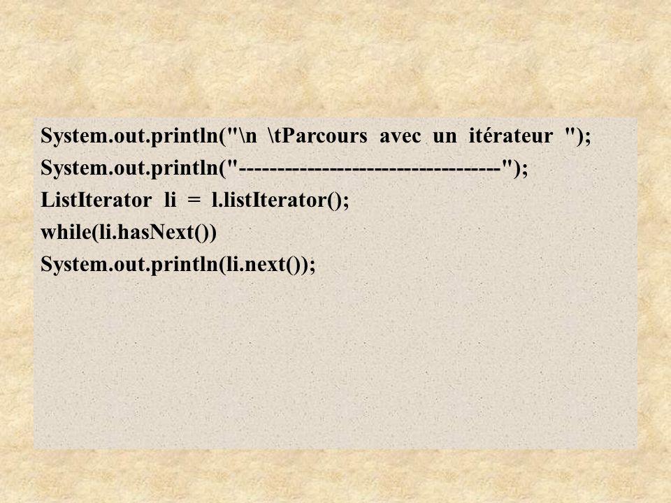 System. out. println( \n \tParcours avec un itérateur ); System. out