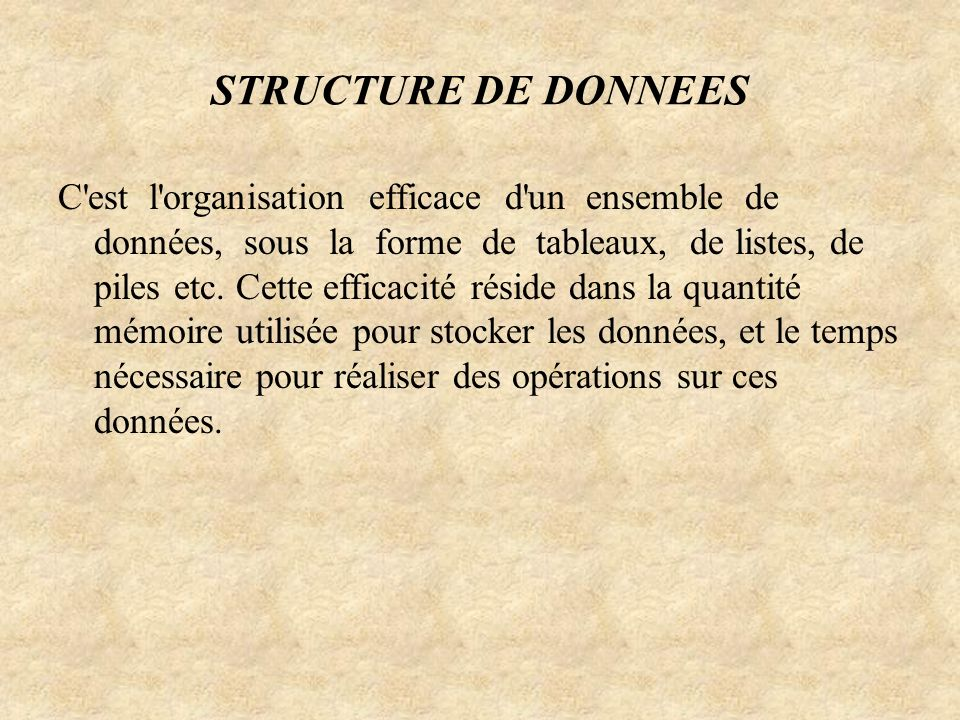 STRUCTURE DE DONNEES