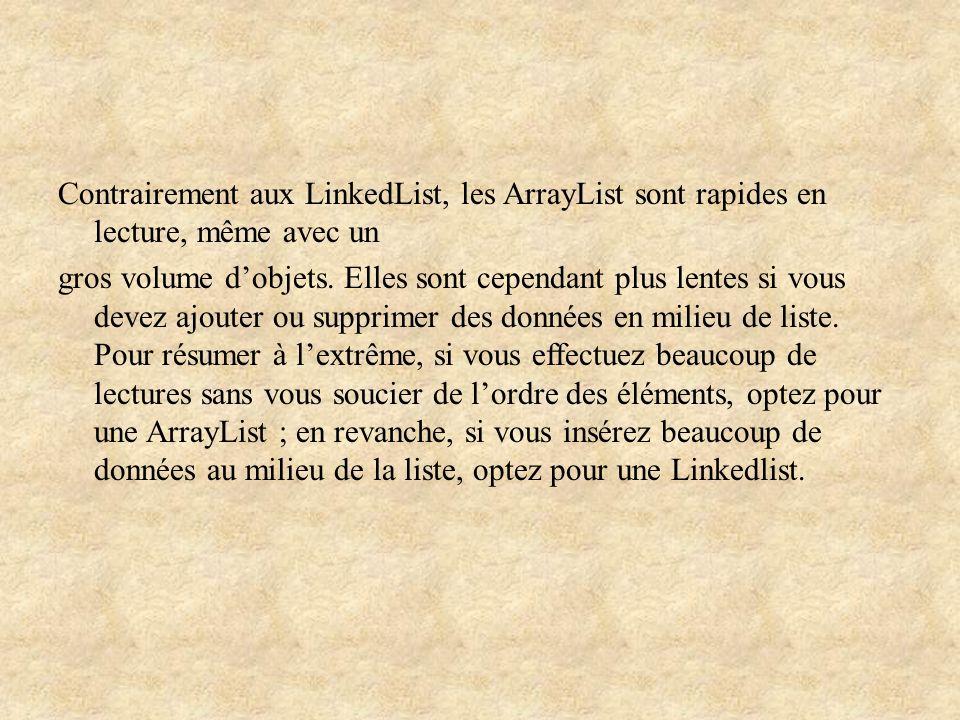 Contrairement aux LinkedList, les ArrayList sont rapides en lecture, même avec un gros volume d'objets.