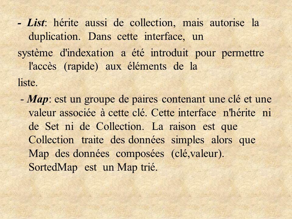 - List: hérite aussi de collection, mais autorise la duplication