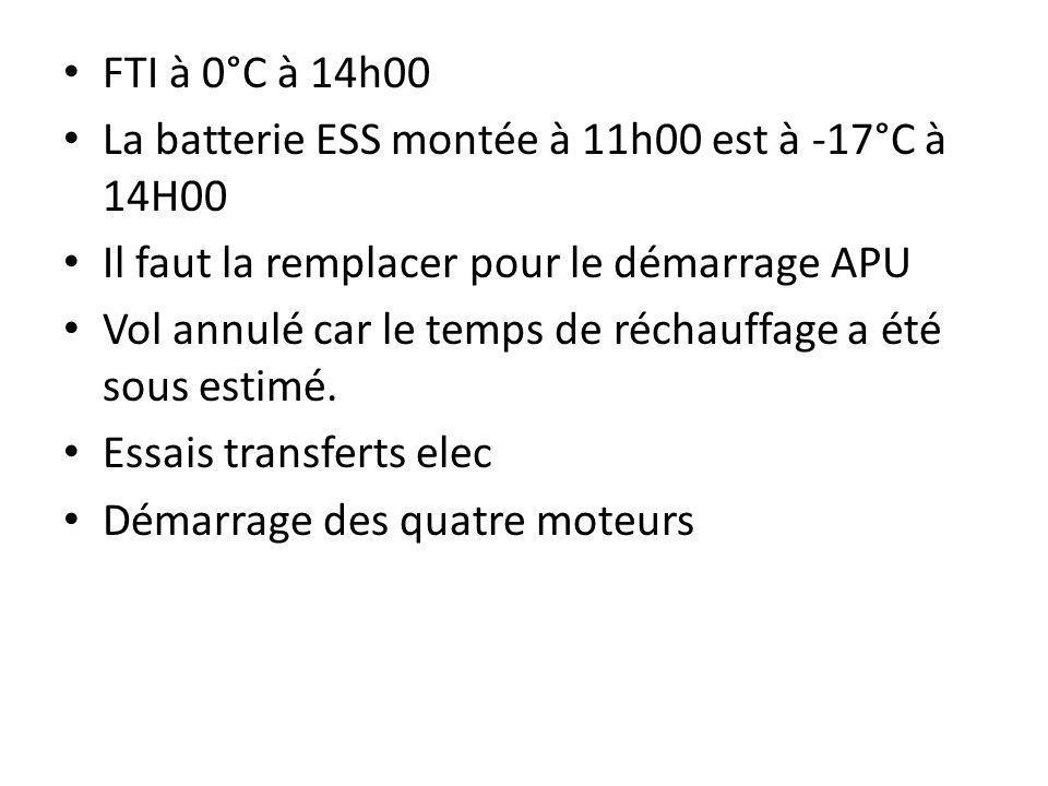 FTI à 0°C à 14h00 La batterie ESS montée à 11h00 est à -17°C à 14H00. Il faut la remplacer pour le démarrage APU.