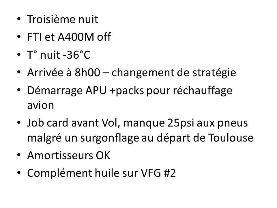 Troisième nuit FTI et A400M off. T° nuit -36°C. Arrivée à 8h00 – changement de stratégie. Démarrage APU +packs pour réchauffage avion.