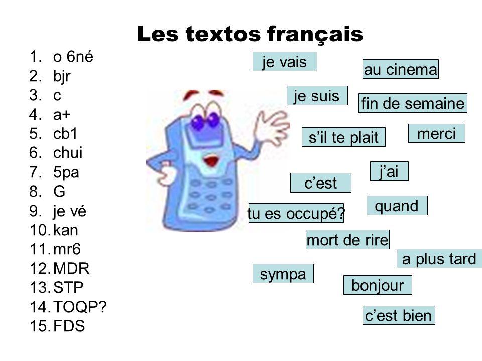 Les textos français o 6né je vais bjr au cinema c a+ cb1 je suis