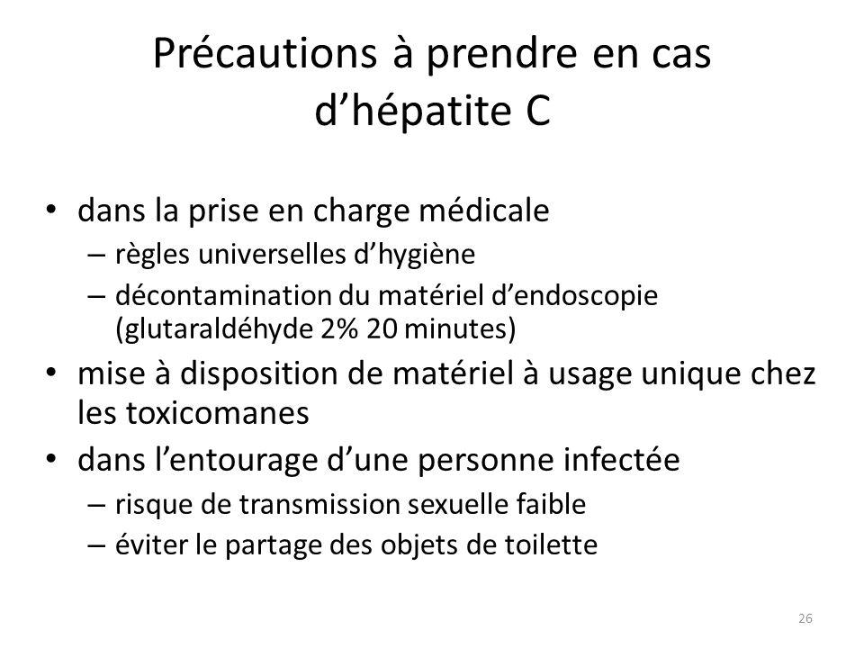 Précautions à prendre en cas d'hépatite C