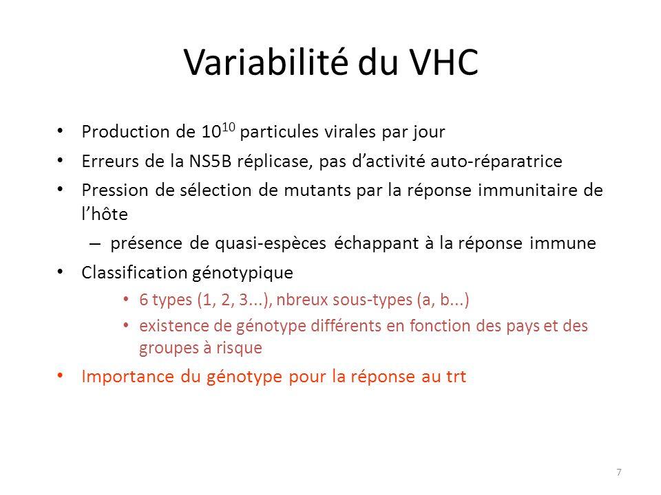 Variabilité du VHC Production de 1010 particules virales par jour