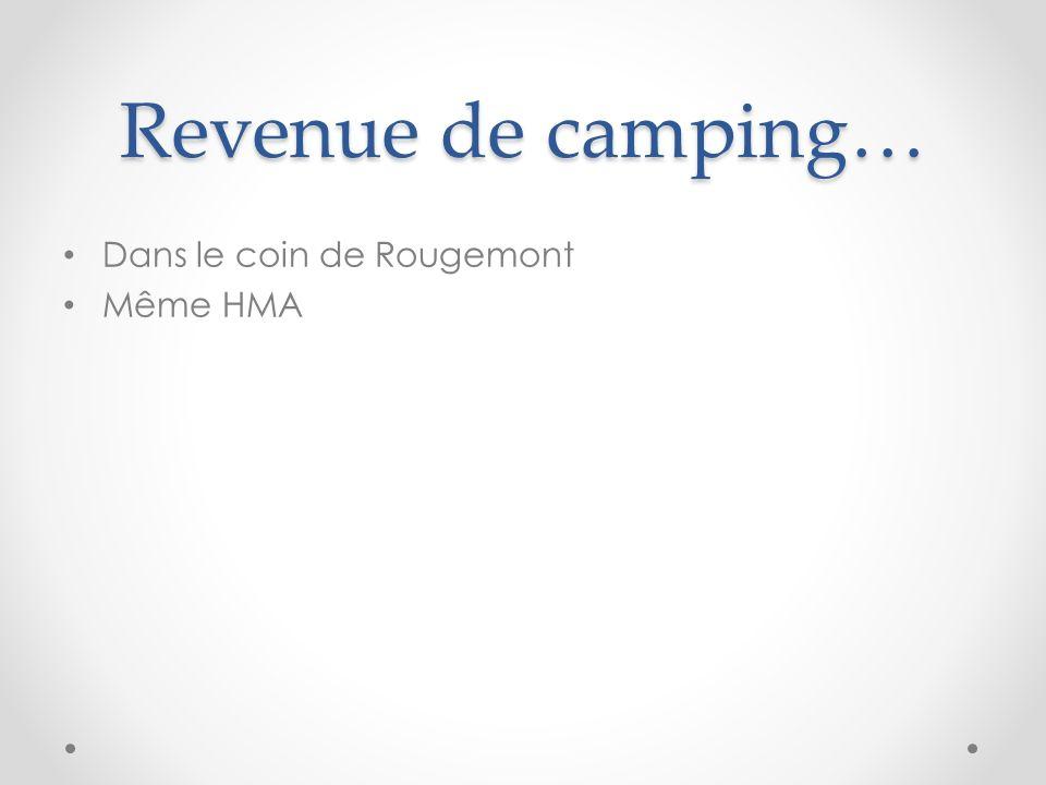 Revenue de camping… Dans le coin de Rougemont Même HMA