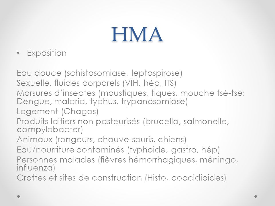 HMA Exposition Eau douce (schistosomiase, leptospirose)
