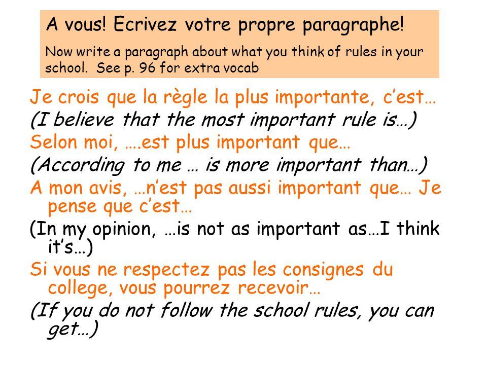 A vous! Ecrivez votre propre paragraphe!
