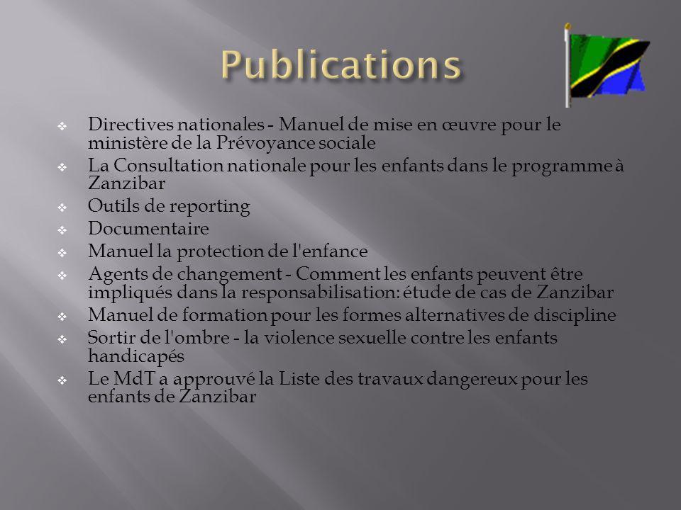 Publications Directives nationales - Manuel de mise en œuvre pour le ministère de la Prévoyance sociale.