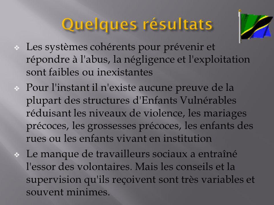 Quelques résultats Les systèmes cohérents pour prévenir et répondre à l abus, la négligence et l exploitation sont faibles ou inexistantes.