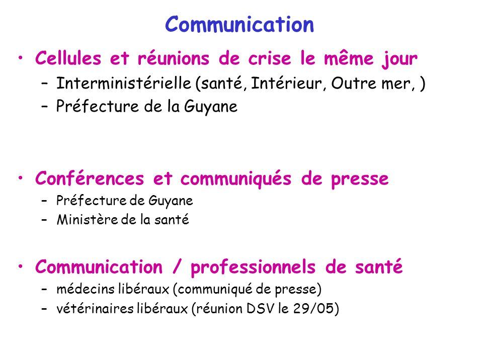 Communication Cellules et réunions de crise le même jour