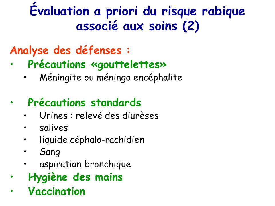 Évaluation a priori du risque rabique associé aux soins (2)
