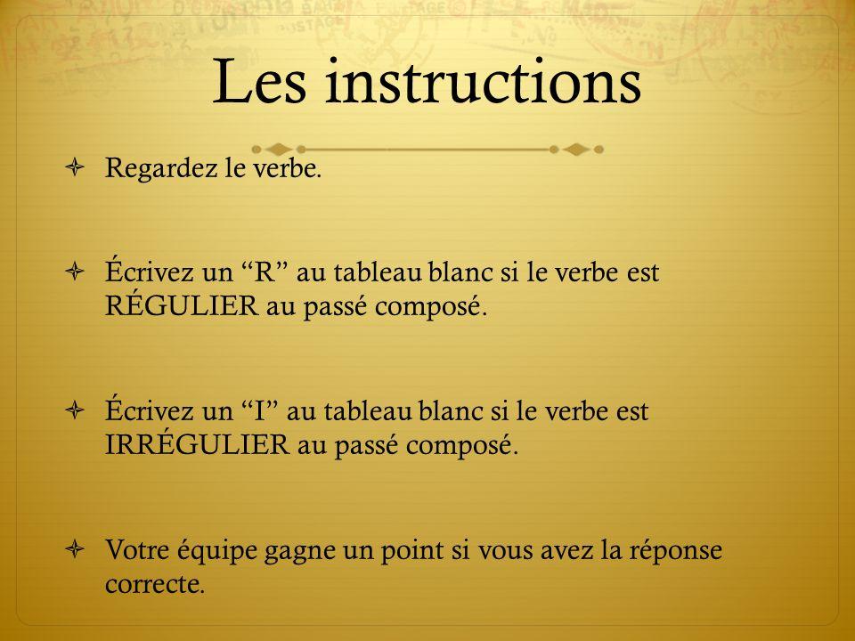 Les instructions Regardez le verbe.