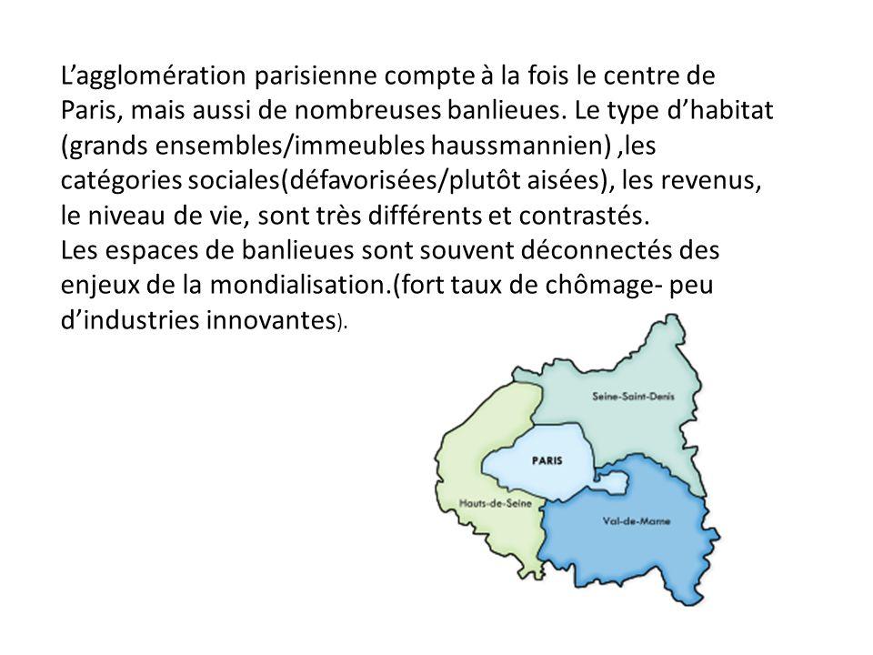 L'agglomération parisienne compte à la fois le centre de Paris, mais aussi de nombreuses banlieues. Le type d'habitat (grands ensembles/immeubles haussmannien) ,les catégories sociales(défavorisées/plutôt aisées), les revenus, le niveau de vie, sont très différents et contrastés.