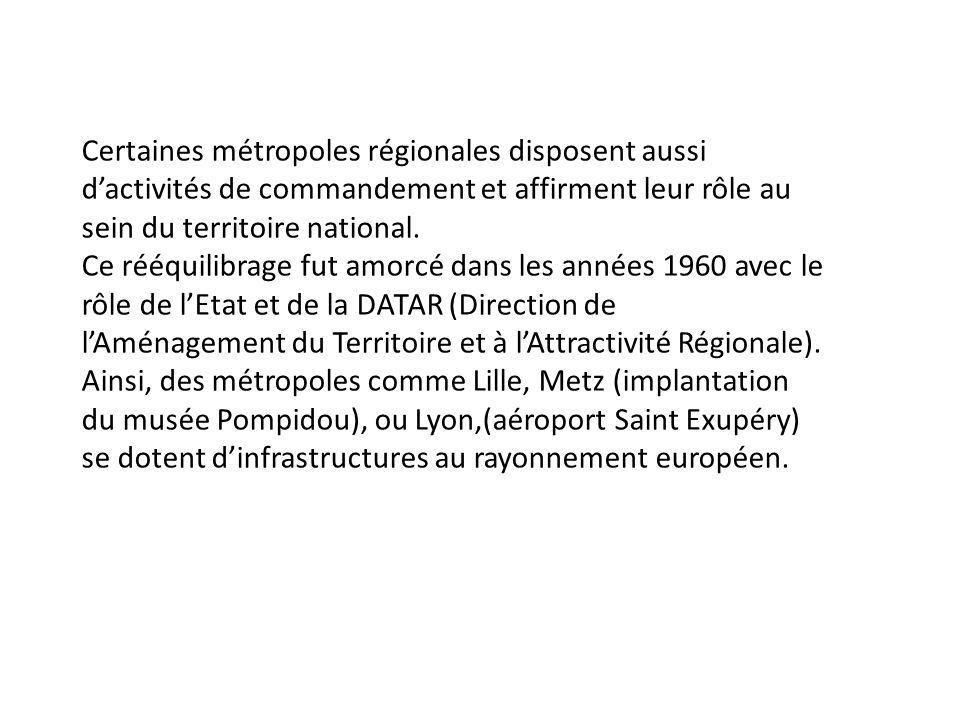 Certaines métropoles régionales disposent aussi d'activités de commandement et affirment leur rôle au sein du territoire national.