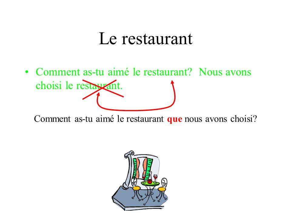 Le restaurant Comment as-tu aimé le restaurant. Nous avons choisi le restaurant.