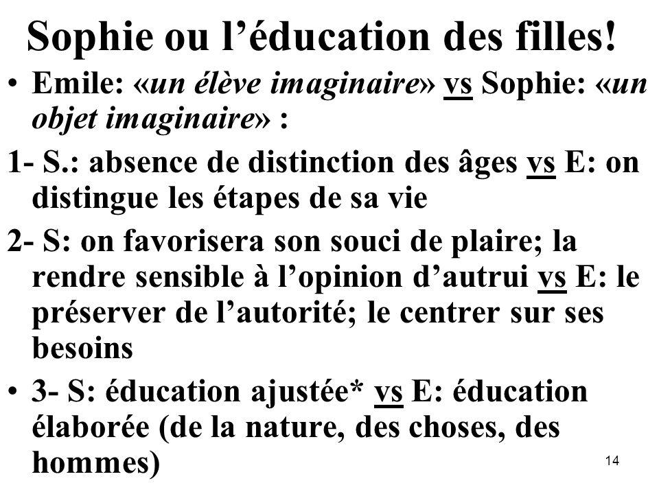 Sophie ou l'éducation des filles!