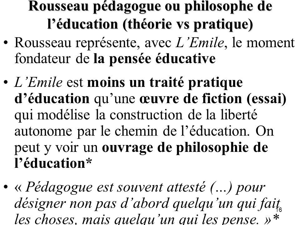 Rousseau pédagogue ou philosophe de l'éducation (théorie vs pratique)