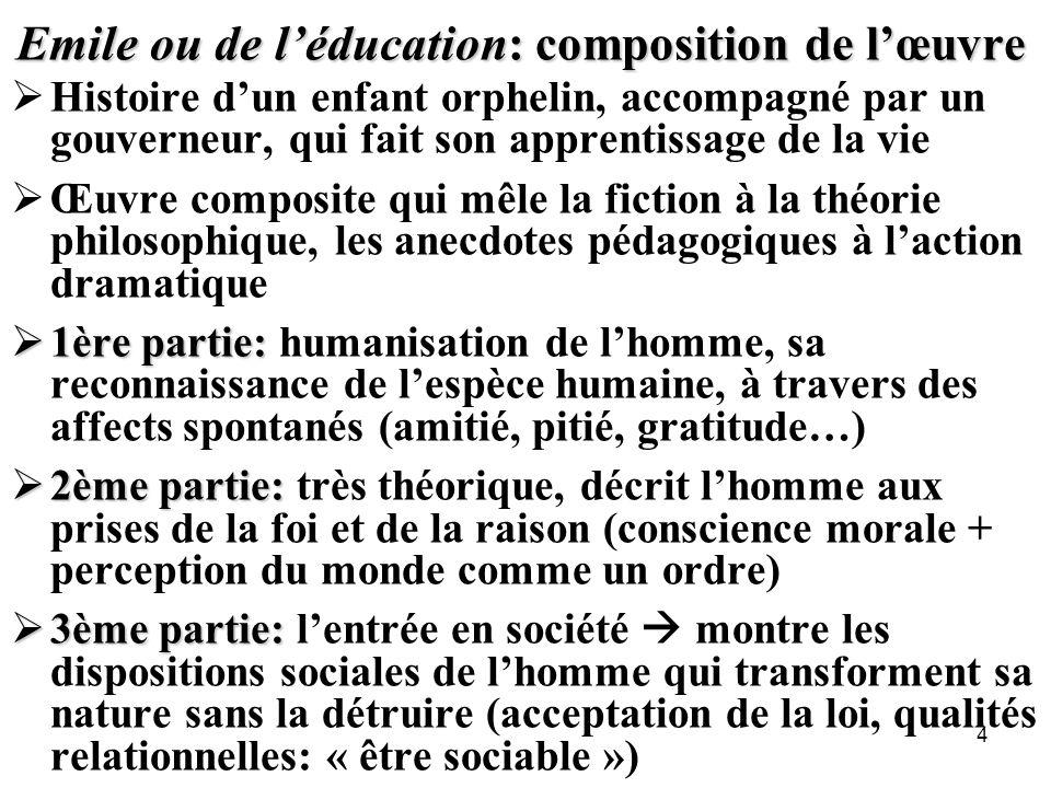 Emile ou de l'éducation: composition de l'œuvre