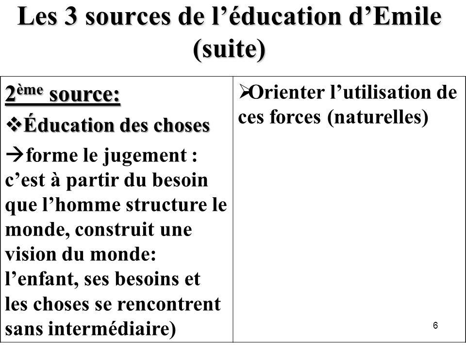 Les 3 sources de l'éducation d'Emile (suite)