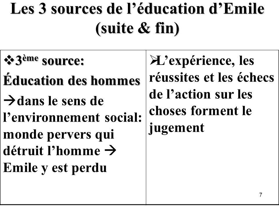 Les 3 sources de l'éducation d'Emile (suite & fin)