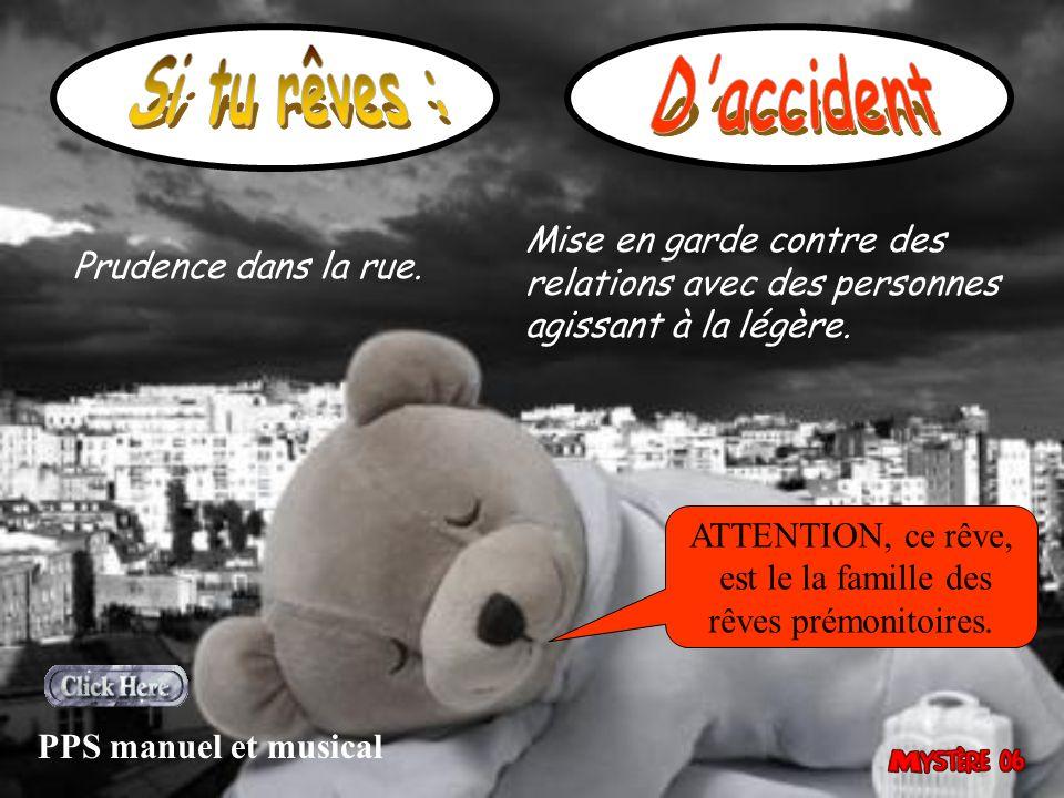 Si tu rêves : D accident. Mise en garde contre des relations avec des personnes agissant à la légère.