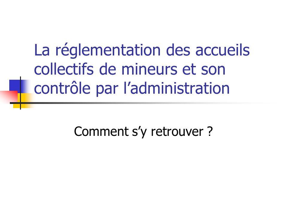 La réglementation des accueils collectifs de mineurs et son contrôle par l'administration