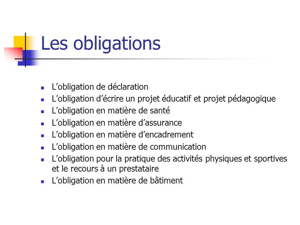 Les obligations L'obligation de déclaration