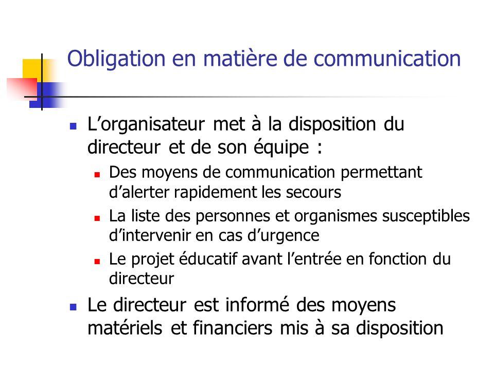 Obligation en matière de communication