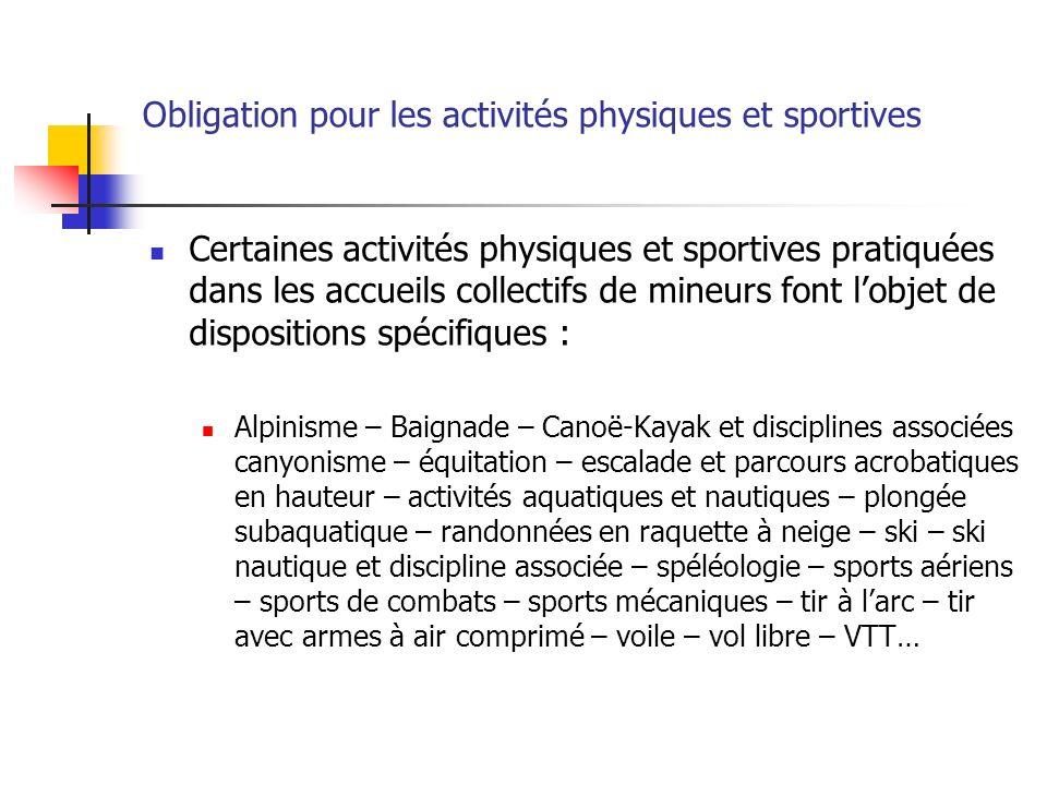 Obligation pour les activités physiques et sportives