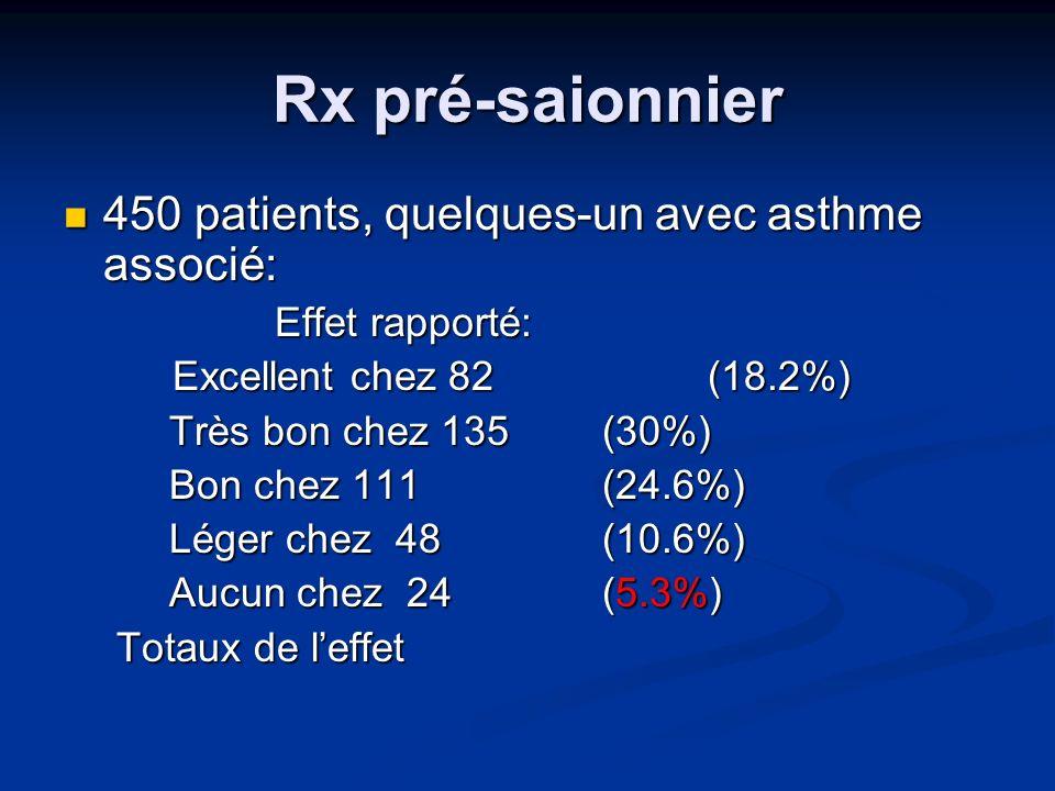 Rx pré-saionnier 450 patients, quelques-un avec asthme associé: