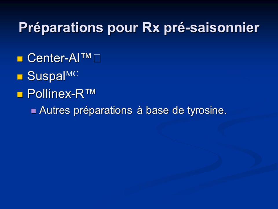 Préparations pour Rx pré-saisonnier