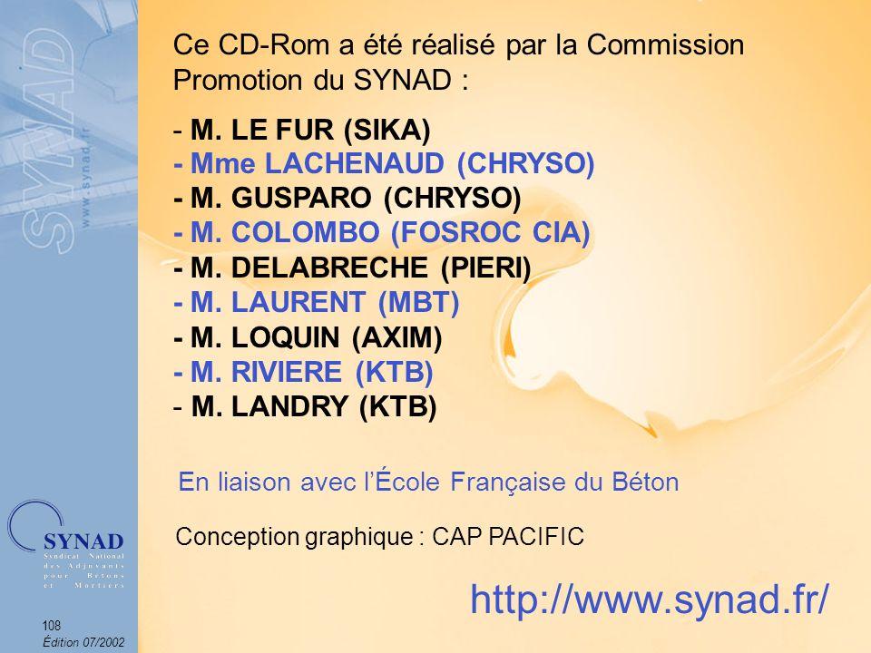 Ce CD-Rom a été réalisé par la Commission Promotion du SYNAD :