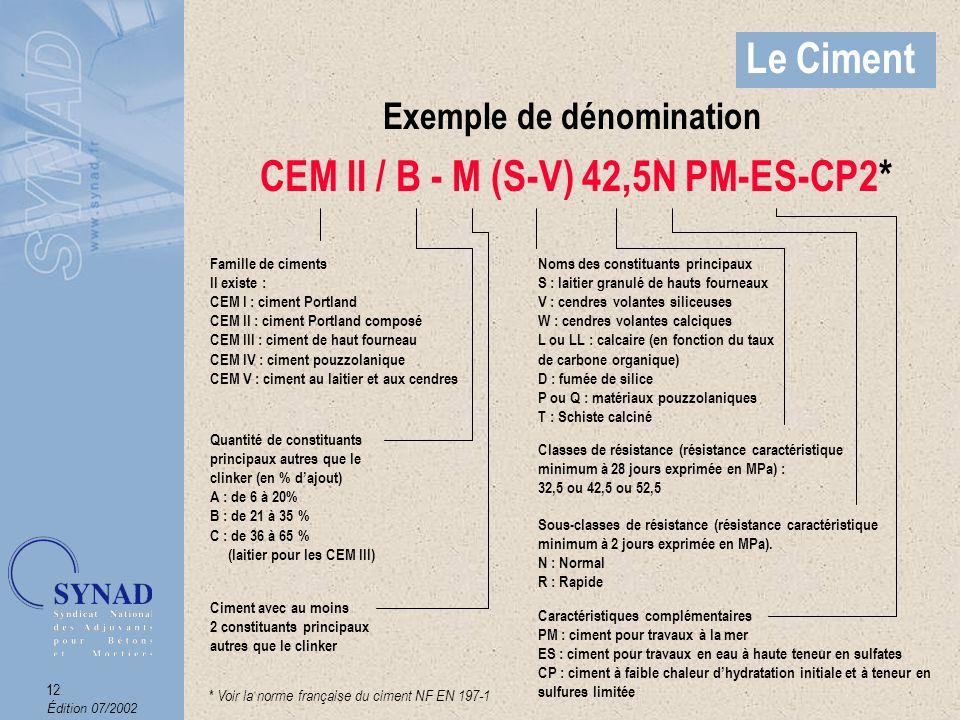 Exemple de dénomination CEM II / B - M (S-V) 42,5N PM-ES-CP2*