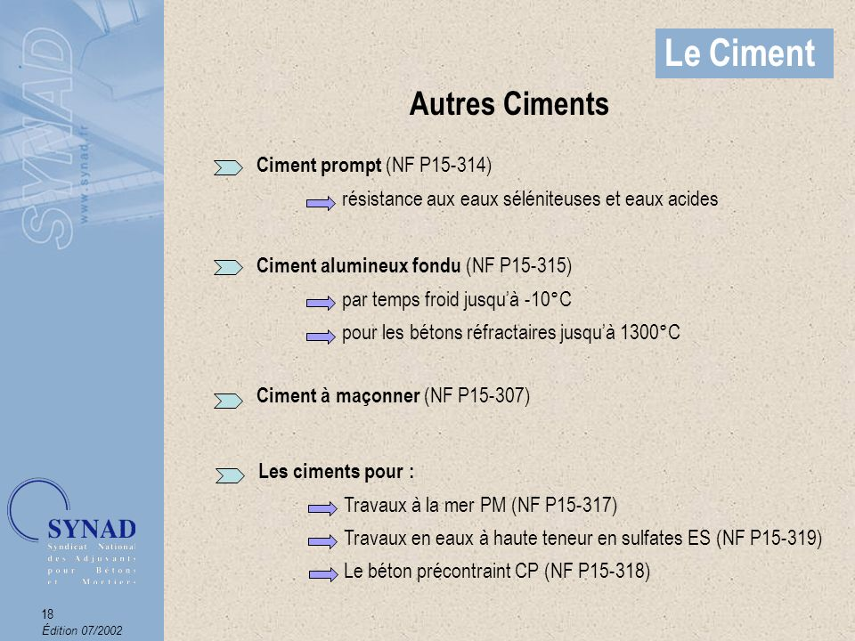 Le Ciment Autres Ciments Ciment prompt (NF P15-314)