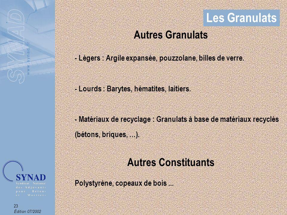 Les Granulats Autres Granulats Autres Constituants