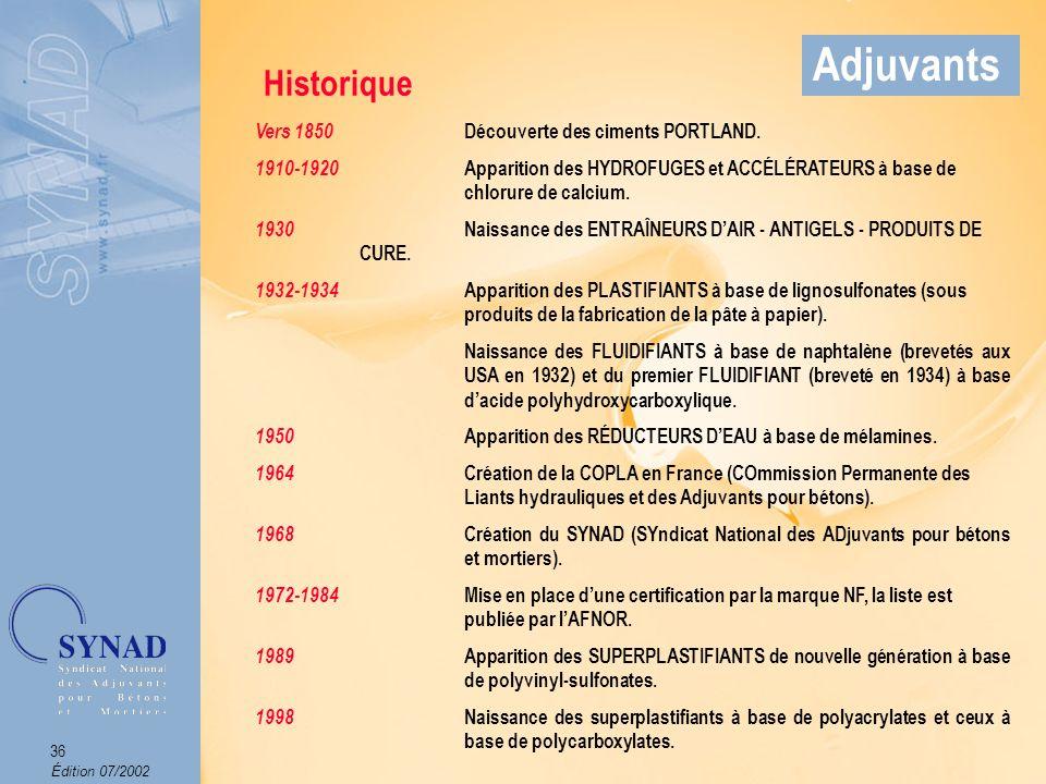 Adjuvants Historique Vers 1850 Découverte des ciments PORTLAND.