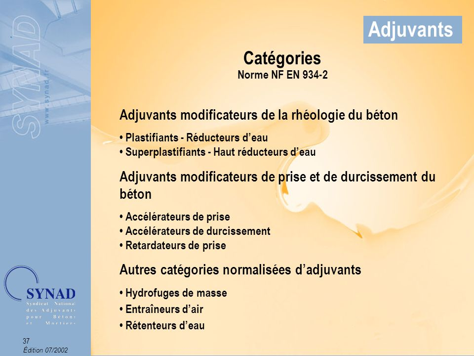 Adjuvants Catégories Adjuvants modificateurs de la rhéologie du béton