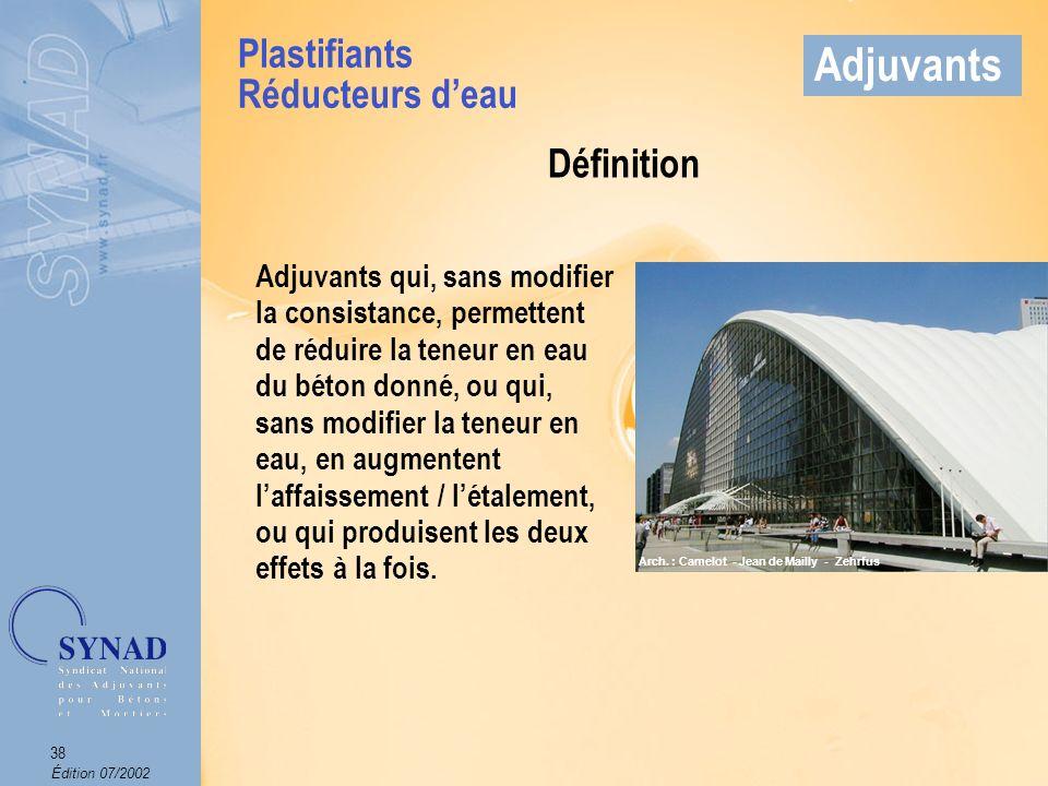 Adjuvants Plastifiants Réducteurs d'eau Définition