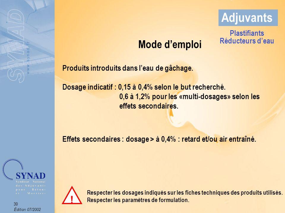 Adjuvants Mode d'emploi ! Plastifiants Réducteurs d'eau