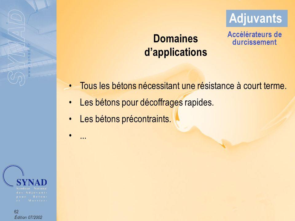 Domaines d'applications Accélérateurs de durcissement