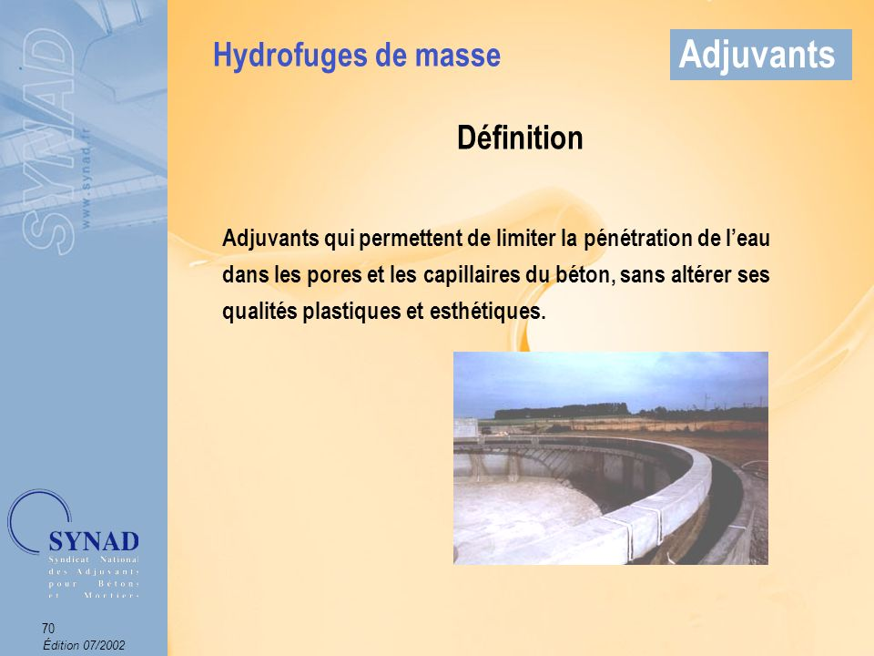 Adjuvants Hydrofuges de masse Définition