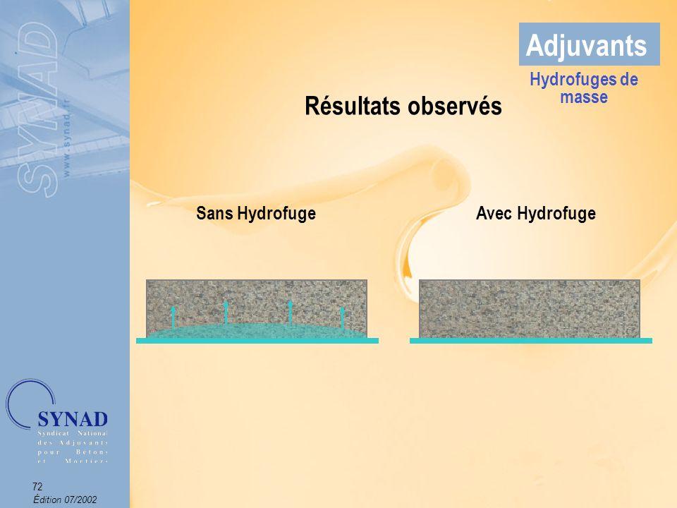 Adjuvants Résultats observés Hydrofuges de masse Sans Hydrofuge