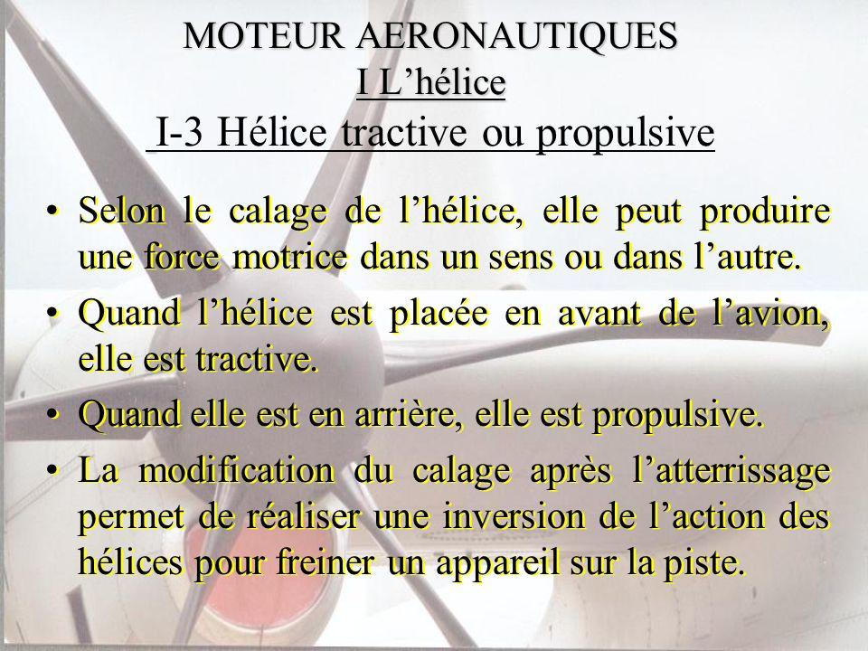 MOTEUR AERONAUTIQUES I L'hélice I-3 Hélice tractive ou propulsive