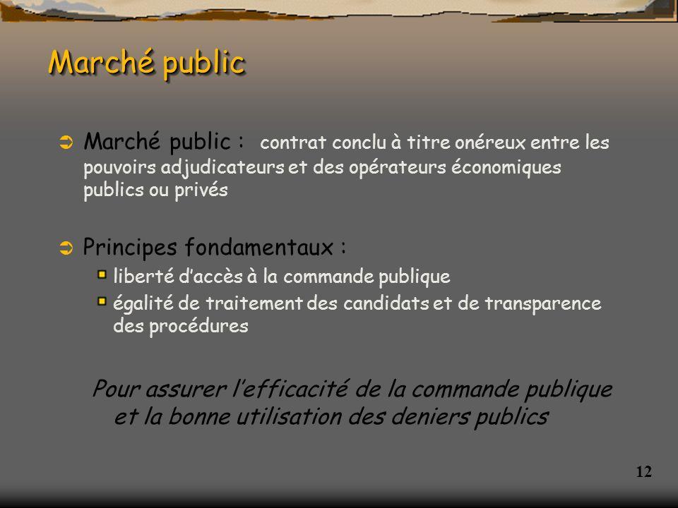 Marché public Marché public : contrat conclu à titre onéreux entre les pouvoirs adjudicateurs et des opérateurs économiques publics ou privés.